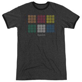 Rubiks Cube Minimal Squares Adult Heather Ringer Charcoal