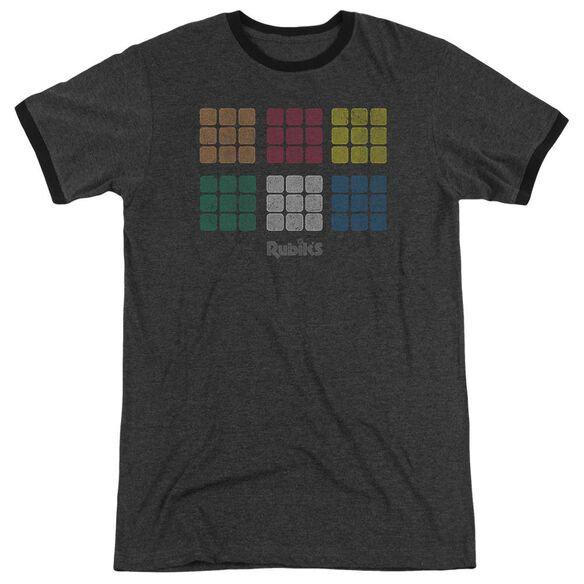 Rubiks Cube Minimal Squares Adult Heather Ringer Charcoal