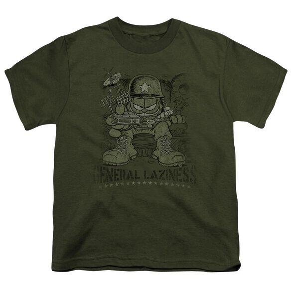 Garfield General Laziness Short Sleeve Youth Military T-Shirt