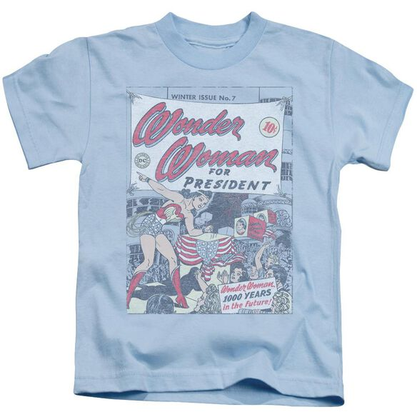 Dc Ww For President Short Sleeve Juvenile Light Blue T-Shirt