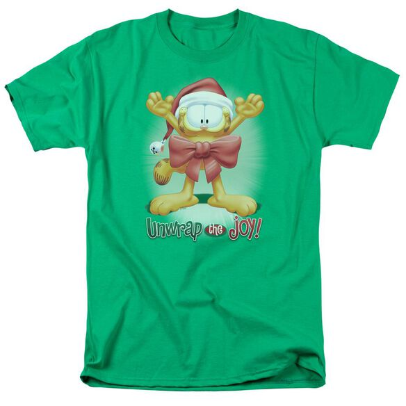 Garfield Unwrap The Joy! Short Sleeve Adult Kelly Green T-Shirt
