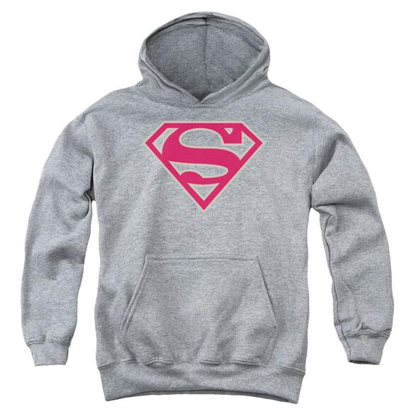 Superman Crimson & Gray Shield Youth Pull Over Hoodie Athletic