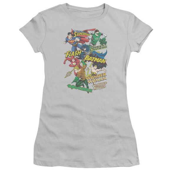 Jla Justice Collage Short Sleeve Junior Sheer T-Shirt