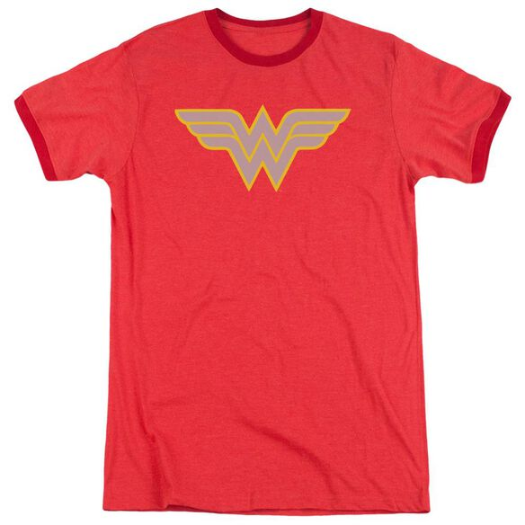 Dc Ww Logo Adult Heather Ringer Red
