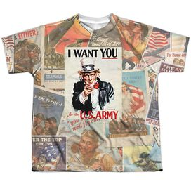 Army Vintage Collage Short Sleeve Youth Poly Crew T-Shirt