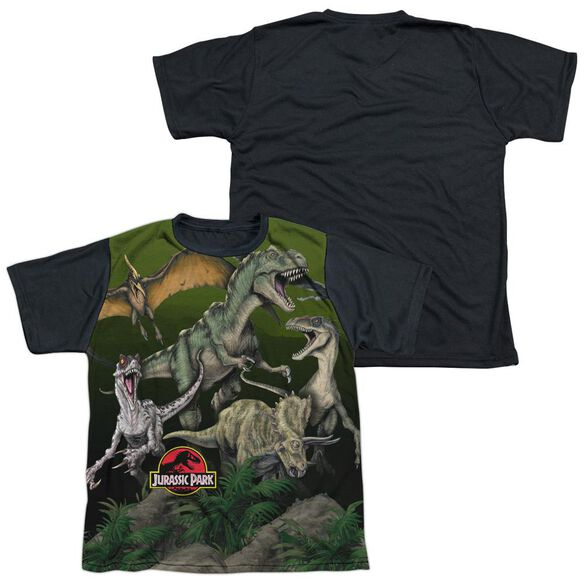 Jurassic Park Pack Of Dinos Short Sleeve Youth Front Black Back T-Shirt