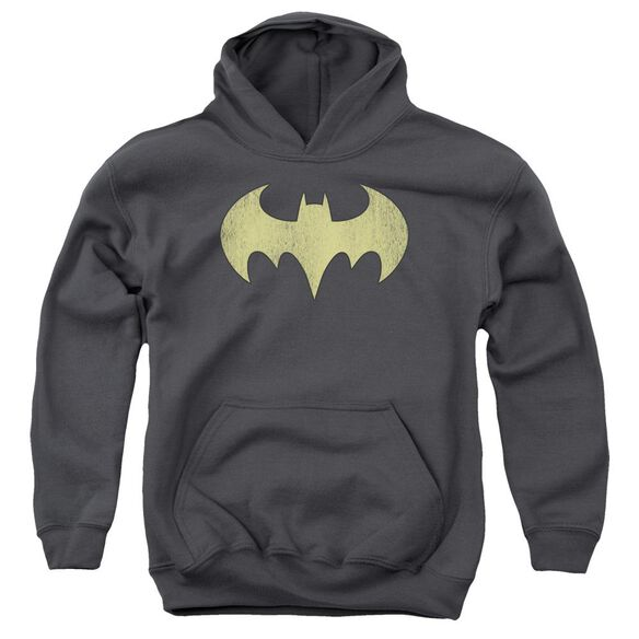 Dc Batgirl Logo Distressed-youth Pull-over Hoodie - Charcoal