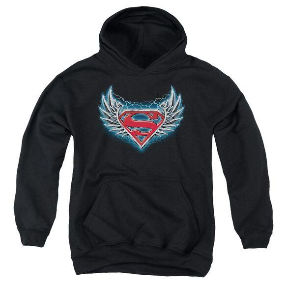 Superman Steel Wings Logo Youth Pull Over Hoodie