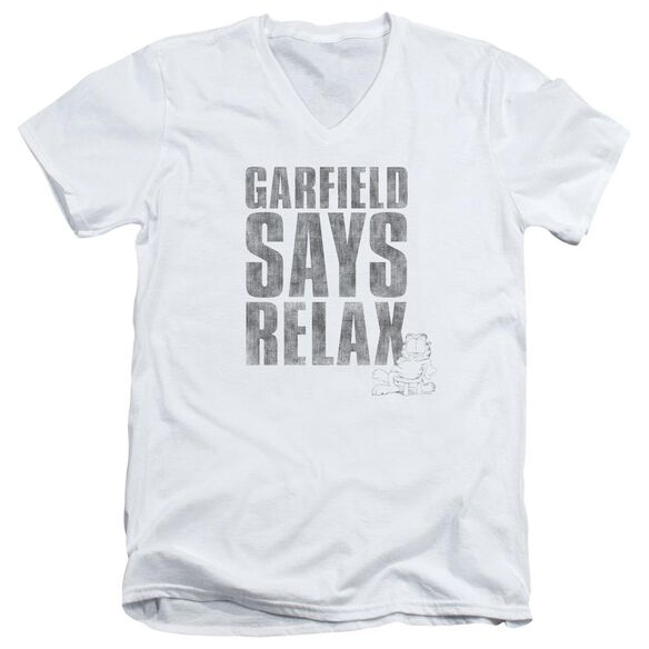 GARFIELD RELAX - S/S ADULT V-NECK - WHITE T-Shirt