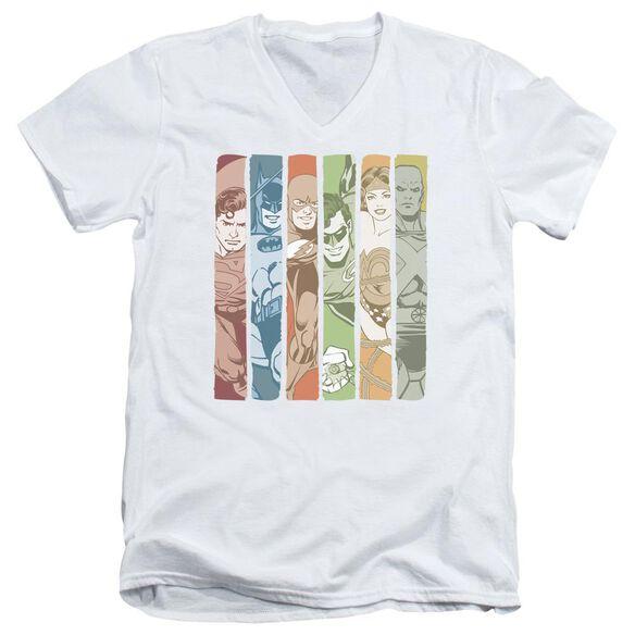 Dc Justice League Columns Short Sleeve Adult V Neck T-Shirt