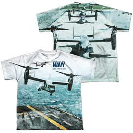 Navy Osprey (Front Back Print) Short Sleeve Youth Poly Crew T-Shirt