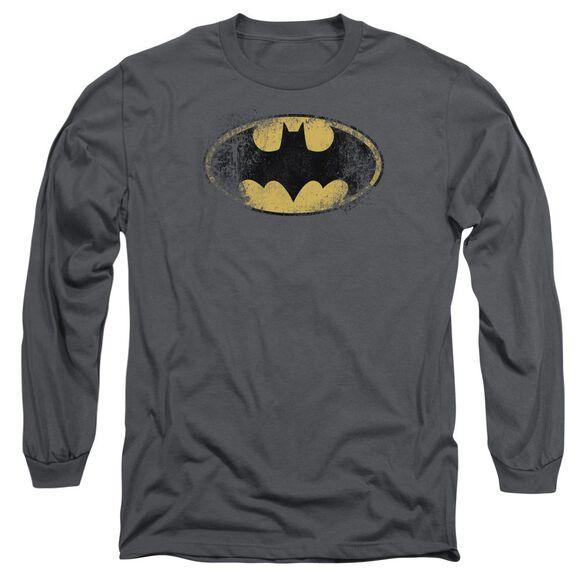 BATMAN DESTROYED LOGO - L/S ADULT 18/1 - CHARCOAL T-Shirt