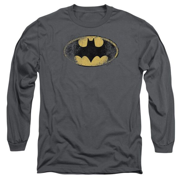 BATMAN DESTROYED LOGO - L/S ADULT 18/1 - CHARCOAL T-Shirt
