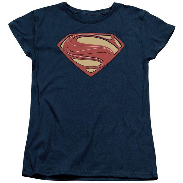 Man Of Steel New Solid Shield Short Sleeve Women's Tee T-Shirt
