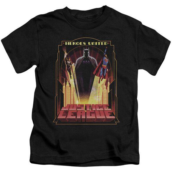Jla Heroes United Short Sleeve Juvenile Black T-Shirt