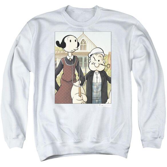 Popeye Popeye Gothic - Adult Crewneck Sweatshirt - White