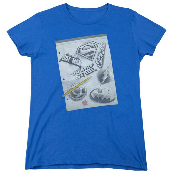 Dc Logo Note Paper Short Sleeve Womens Tee Royal T-Shirt