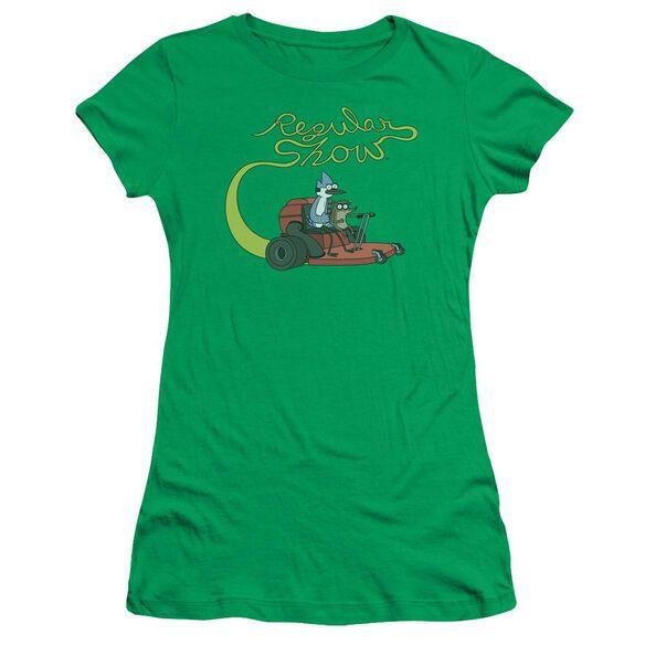 Regular Show Mower Short Sleeve Junior Sheer Kelly T-Shirt