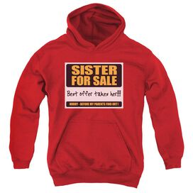 Sister For Sale-youth Pull-over Hoodie - Red