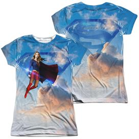 Supergirl Up In The Sky (Front Back Print) Short Sleeve Junior Poly Crew T-Shirt