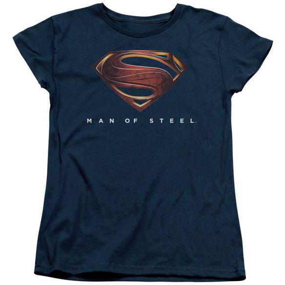 Man Of Steel Mos New Logo Short Sleeve Womens Tee T-Shirt