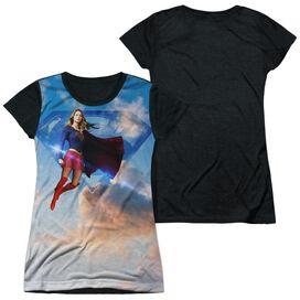 Supergirl Up In The Sky Short Sleeve Junior Poly Black Back T-Shirt