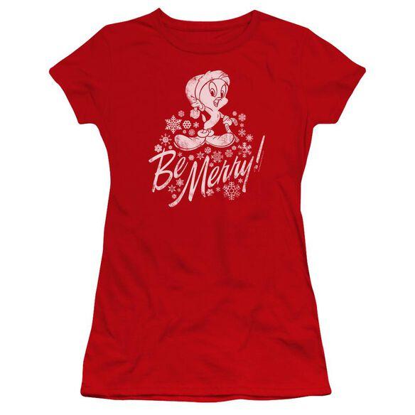 Looney Tunes Merry Tweety Hbo Short Sleeve Junior Sheer T-Shirt
