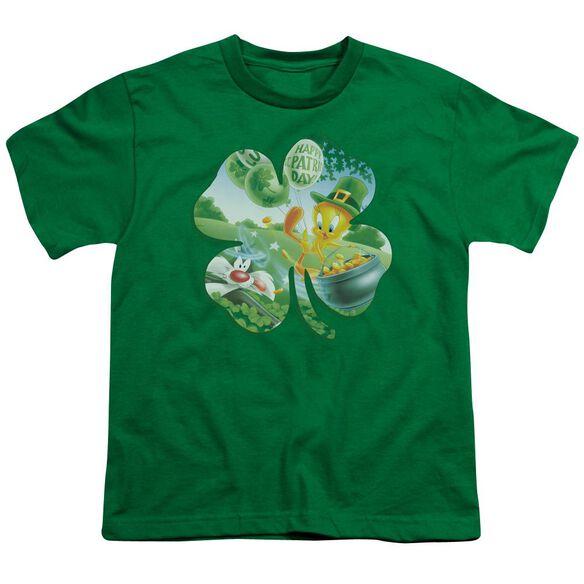 Looney Tunes Tweety Shamrock Short Sleeve Youth Kelly T-Shirt