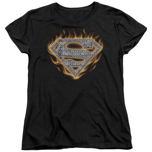 Superman Steel Fire Shield Short Sleeve Womens Tee T-Shirt