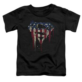 Superman Bleeding Shield Short Sleeve Toddler Tee Black T-Shirt