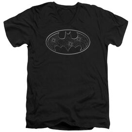 Batman Glass Hole Logo Short Sleeve Adult V Neck T-Shirt