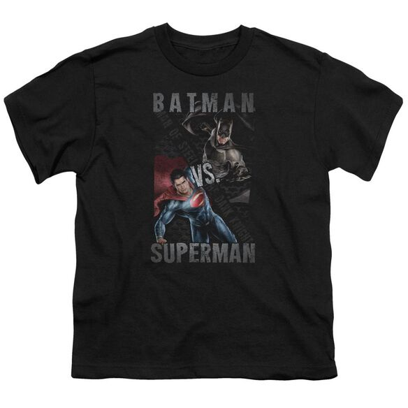 Batman Vs Superman Hero Split Short Sleeve Youth T-Shirt
