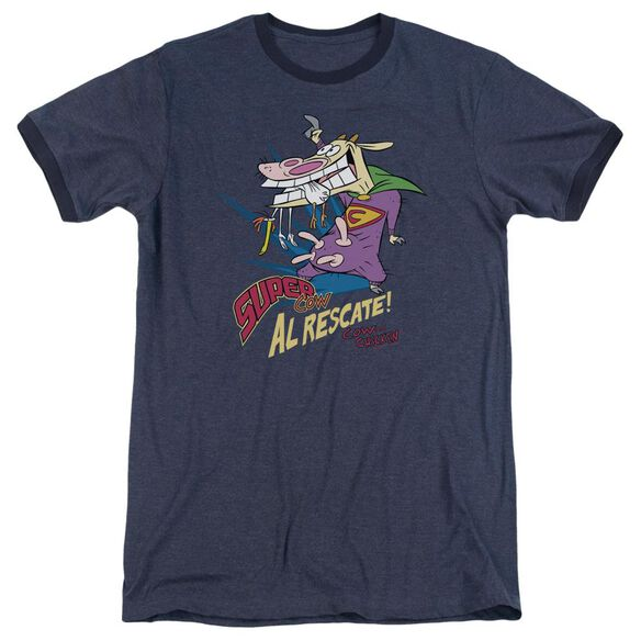Cow & Chicken Super Cow Adult Heather Ringer Navy