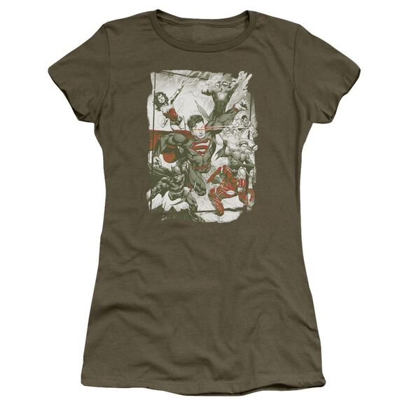 Jla And Red Short Sleeve Junior Sheer Military T-Shirt
