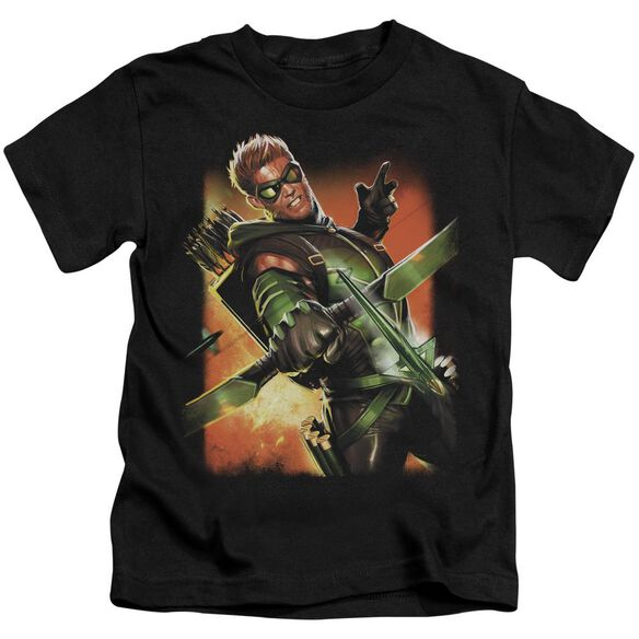 Jla Green Arrow #1 Short Sleeve Juvenile Black T-Shirt