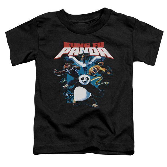 Kung Fu Panda Kung Fu Group Short Sleeve Toddler Tee Black T-Shirt