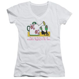 Garden Burying Troubles Junior V Neck T-Shirt