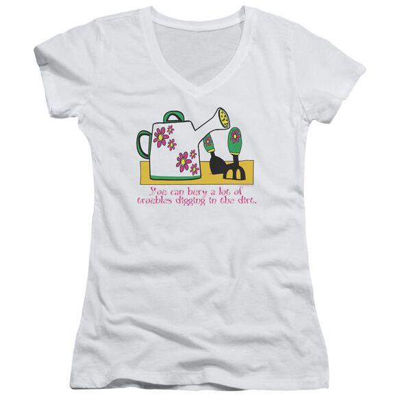 Garden Burying Troubles Junior V Neck T-Shirt