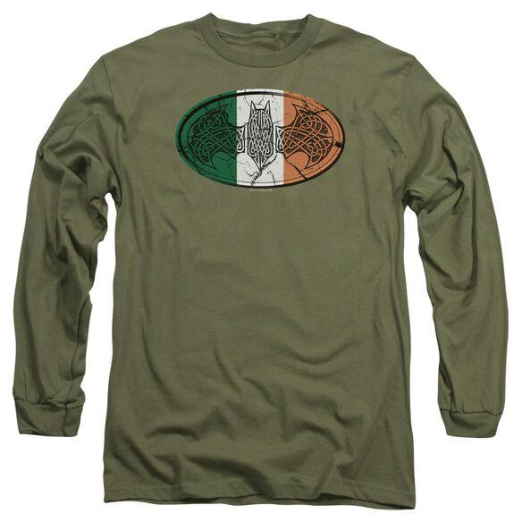 Batman Irish Celtic Symbol Long Sleeve Adult Military T-Shirt