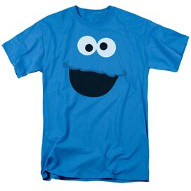 Sesame Street Cookie Monster Face Short Sleeve Adult Turquoise T-Shirt