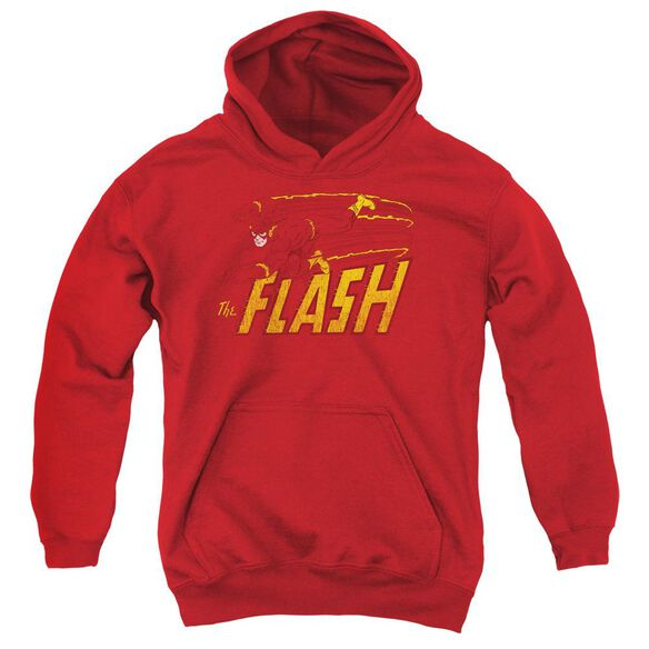 Dc Flash Flash Speed Distressed-youth Pull-over Hoodie - Red