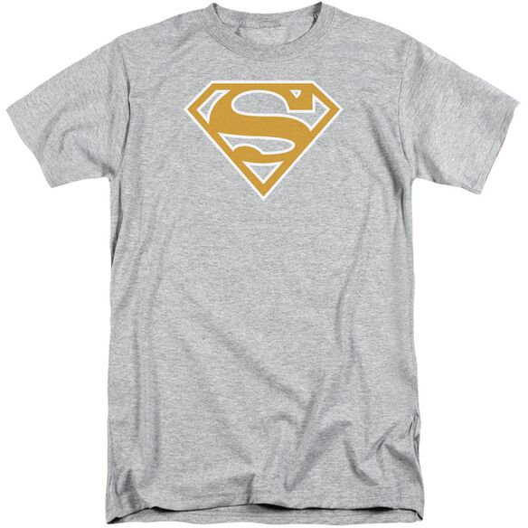 Superman Lt Orange & White Shield Short Sleeve Adult Tall Athletic T-Shirt