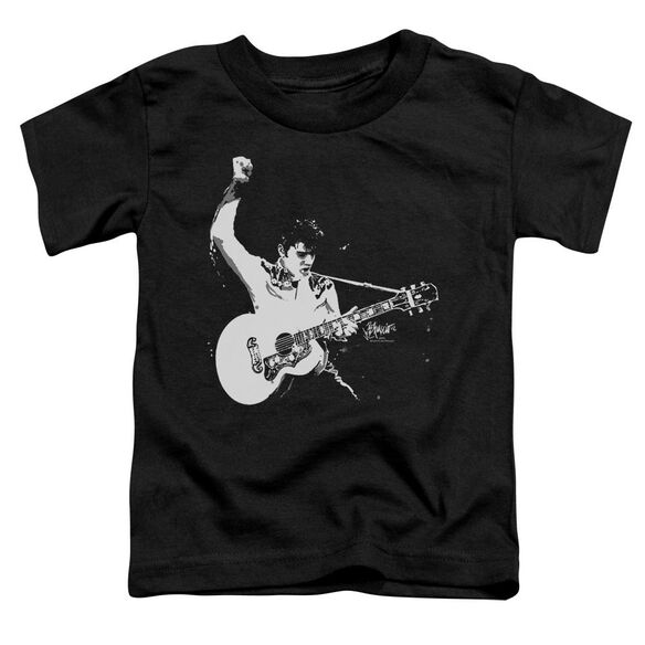 Elvis Black And White Guitarman Short Sleeve Toddler Tee Black T-Shirt