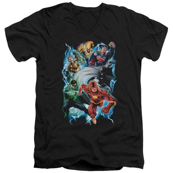 Jla Electric Team Short Sleeve Adult V Neck T-Shirt