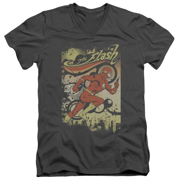 Dc Flash Just Passing Through Short Sleeve Adult V Neck T-Shirt
