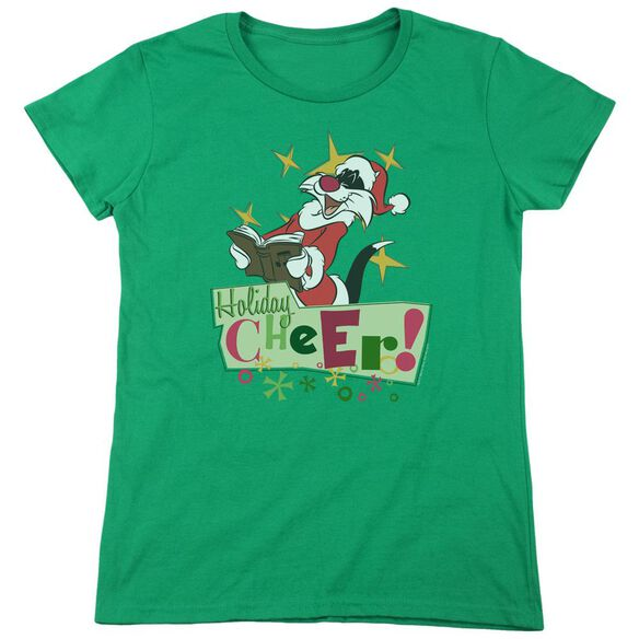 Looney Tunes Cheer Sylvester Short Sleeve Womens Tee Kelly T-Shirt