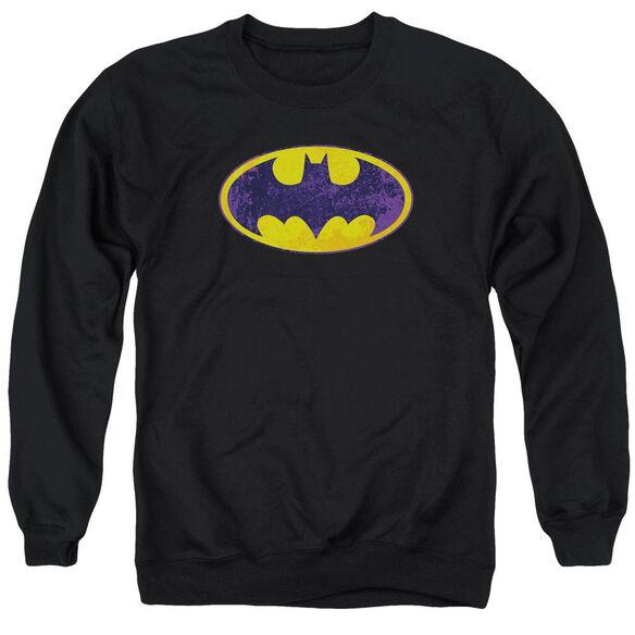 Batman Bm Neon Distress Logo Adult Crewneck Sweatshirt