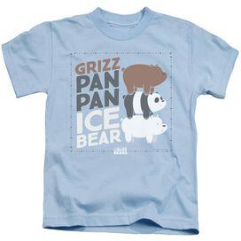 We Bare Bears Grizz Pan Pan Ice Bear Short Sleeve Juvenile Light Blue T-Shirt