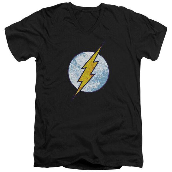 Dc Flash Flash Neon Distress Logo Short Sleeve Adult V Neck T-Shirt