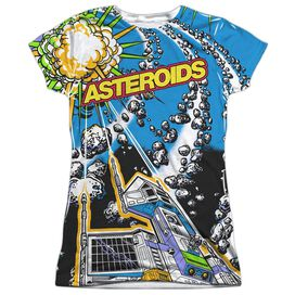 Atari Asteroids All Over Short Sleeve Junior Poly Crew T-Shirt